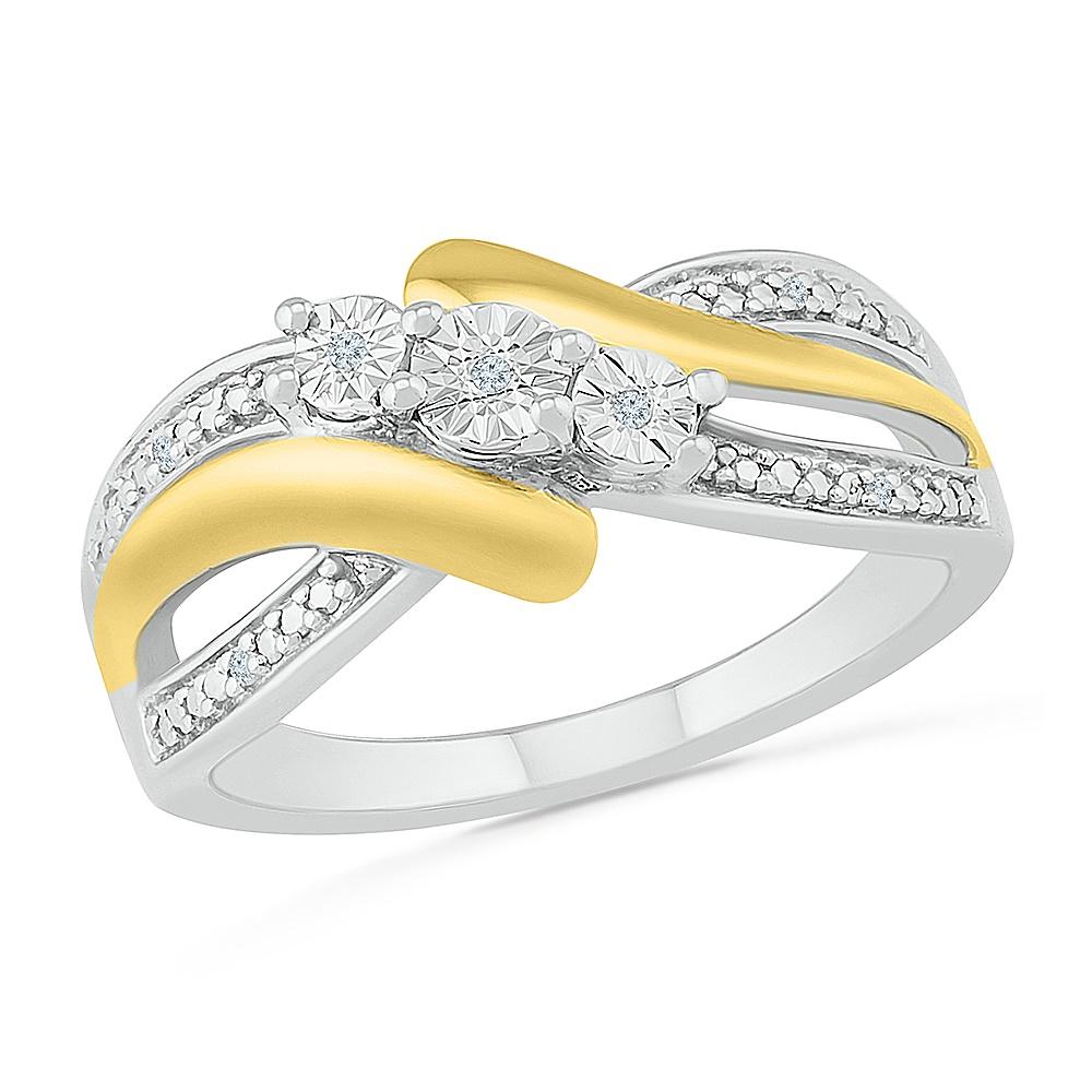 Bague pour femme en argent sterling .925 et Or Jaune 10K & Diamants totalisant 1 pts