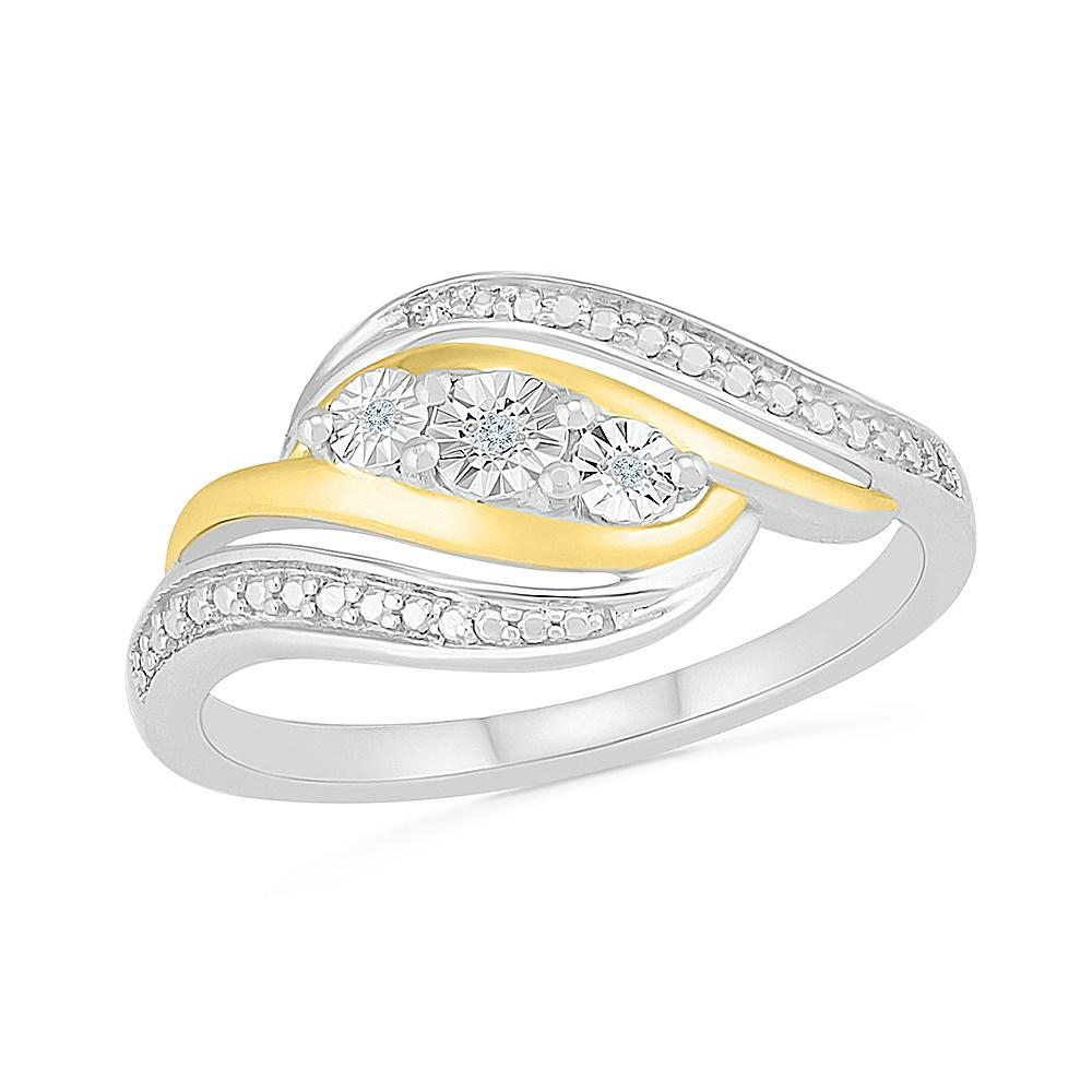 Bague pour femme en argent sterling .925 et Or Jaune 10K & Diamants totalisant 1pt