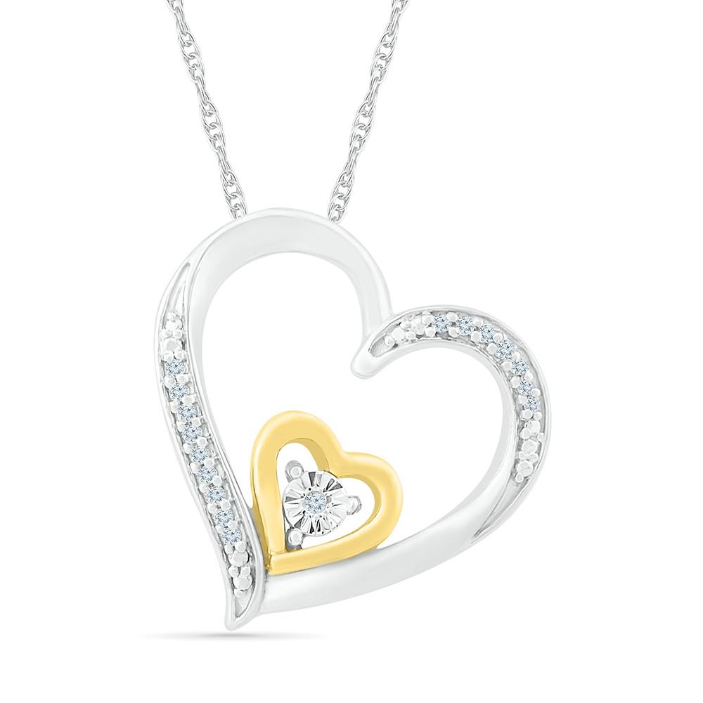 Pendentif coeur avec Chaîne, - en argent sterling .925 et Or Jaune 10K & Diamants