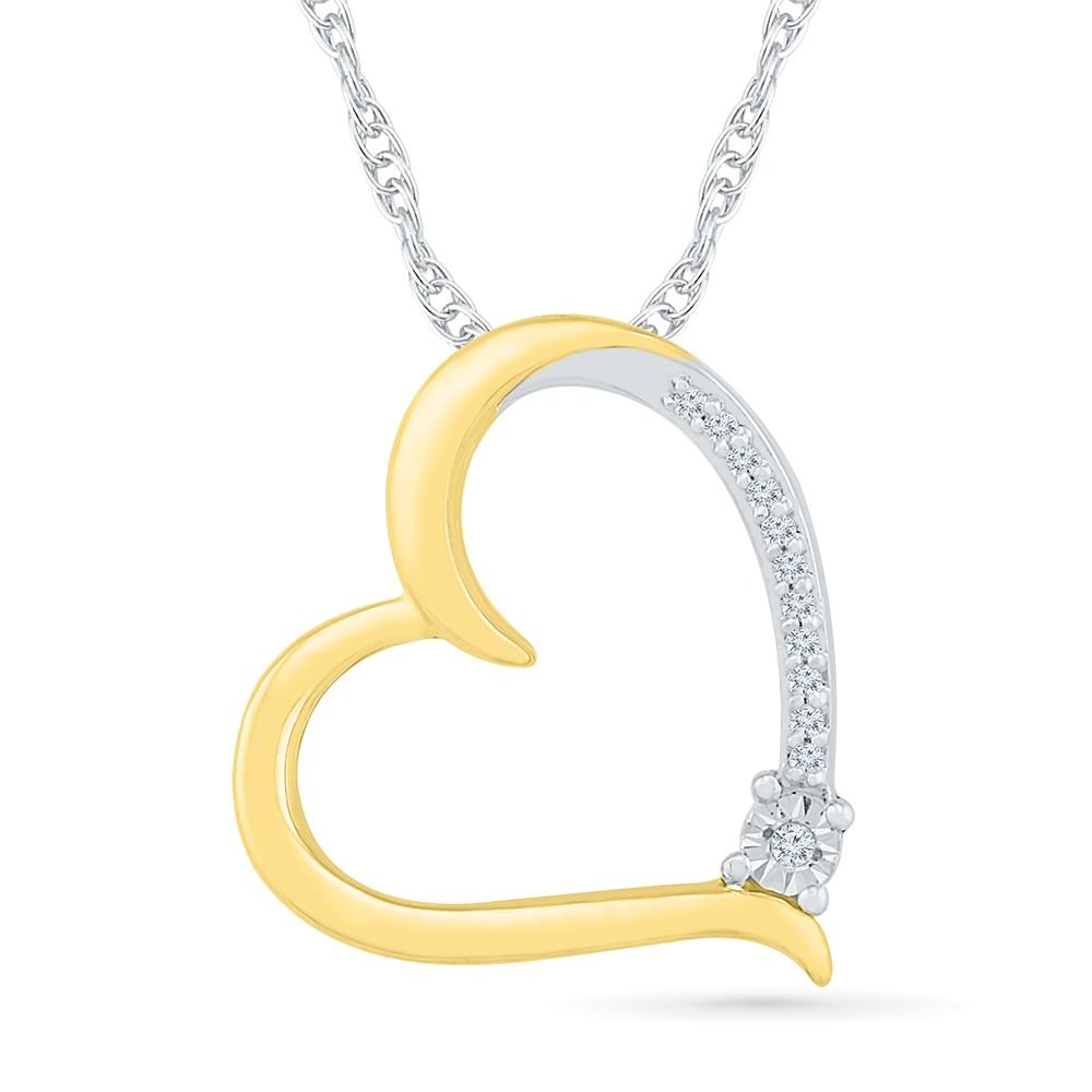 Pendentif coeur avec Chaîne- en argent sterling .925 et Or Jaune 10K & Diamants