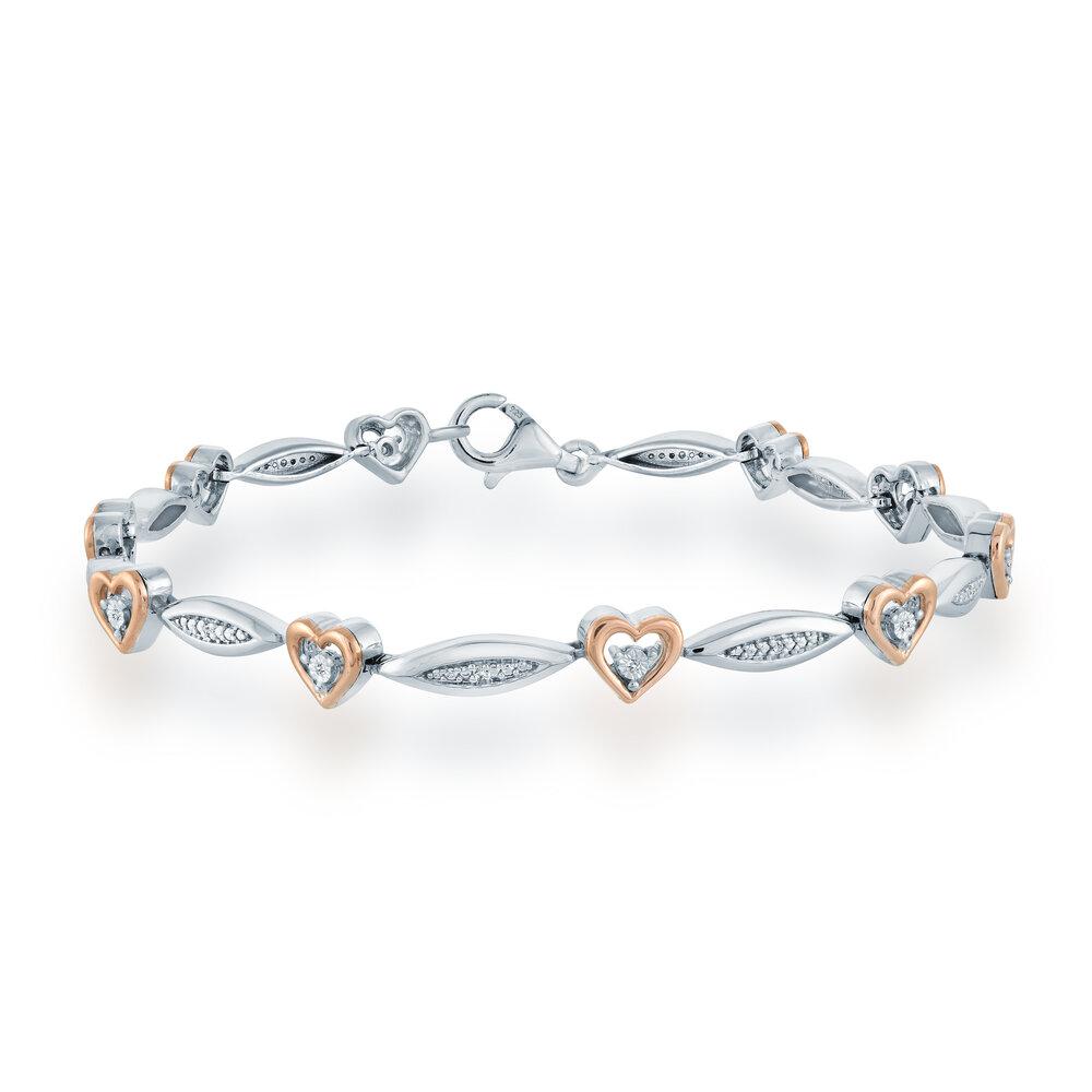 Bracelet pour femme en argent sterling .925 et Or 2 tons 10K & Diamants totalisant 0.05 Carat