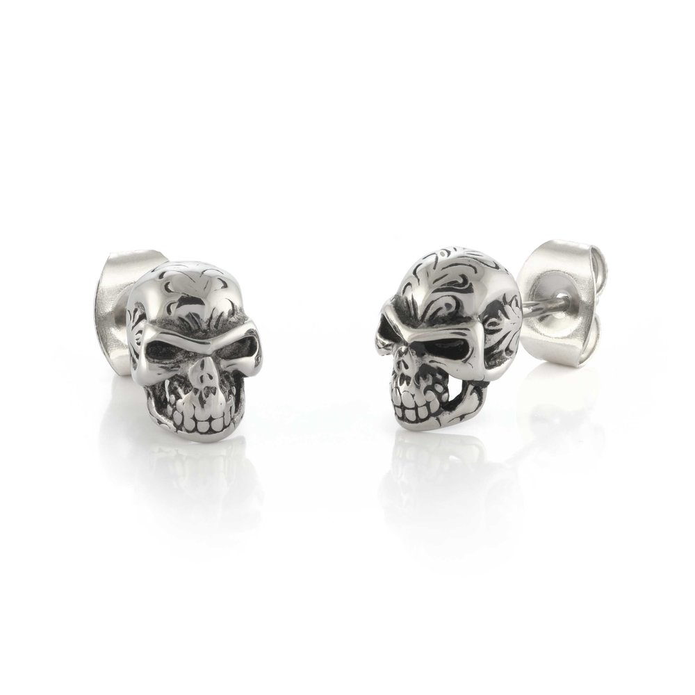 Stud  Earrings, Stainless Steel * Head of Death *