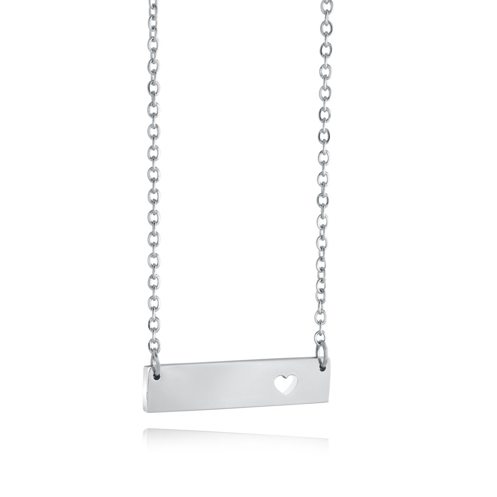Stainless steel necklace - Heart plaque