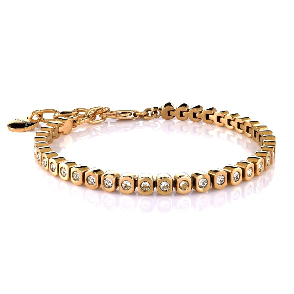 Tennis bracelet for woman -yellow stainless steel & white swarovski crystal