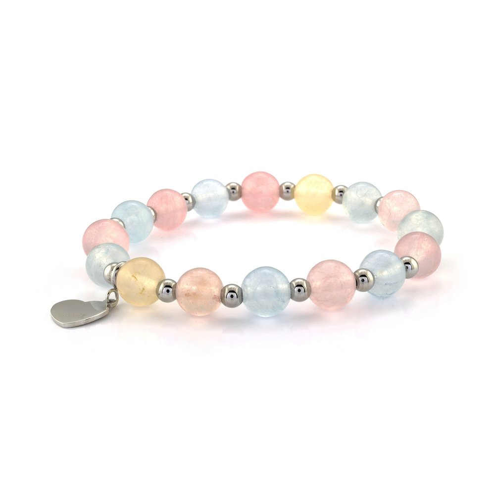 Bracelet for women, multicolored ball with stainless steel heart