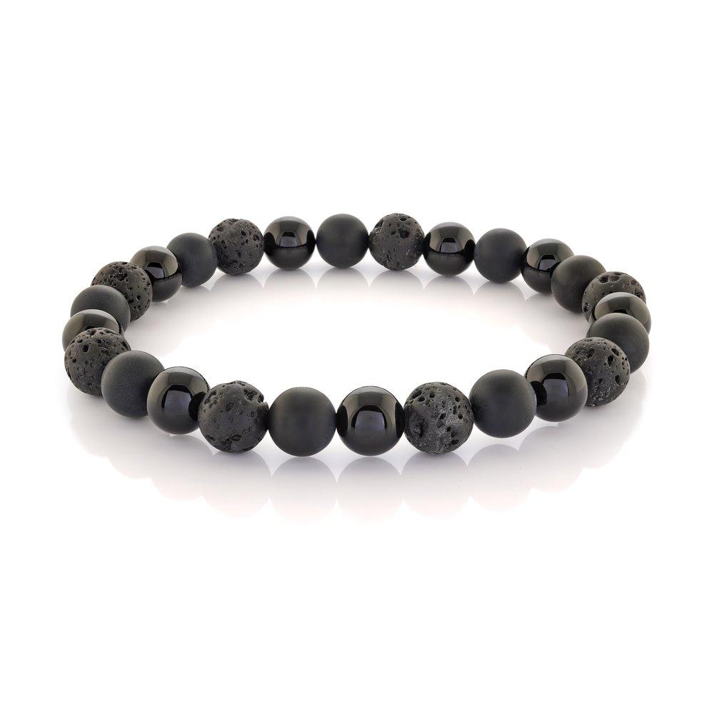 Bracelet for man - Stainless steel & black beads