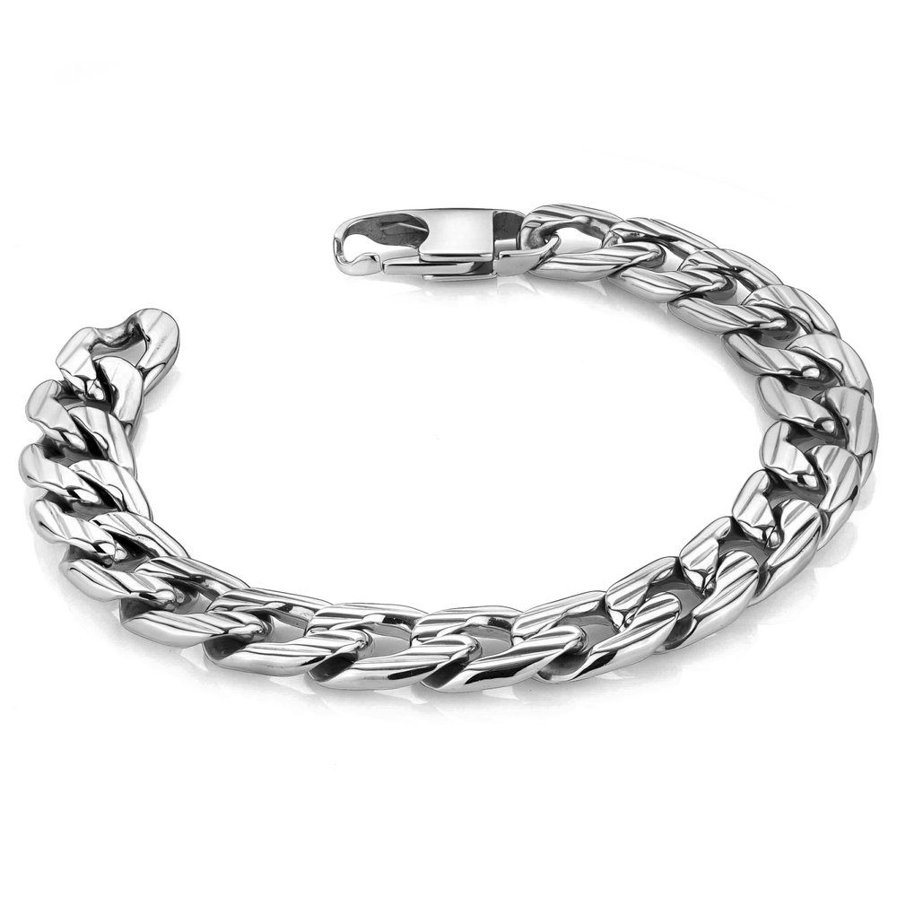 Bracelet for man - Stainless steel and cuban 8.75