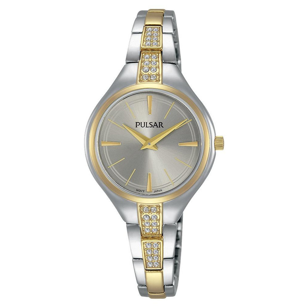 Plusar Ladies Watch - 2 tone & White Dial with Swarovski Crystal