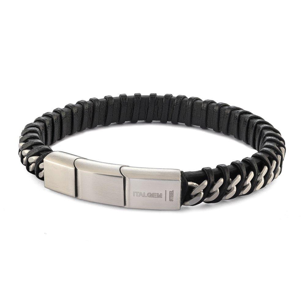 Bracelet - Cuir noir tressé & Acier inoxydable 8.5