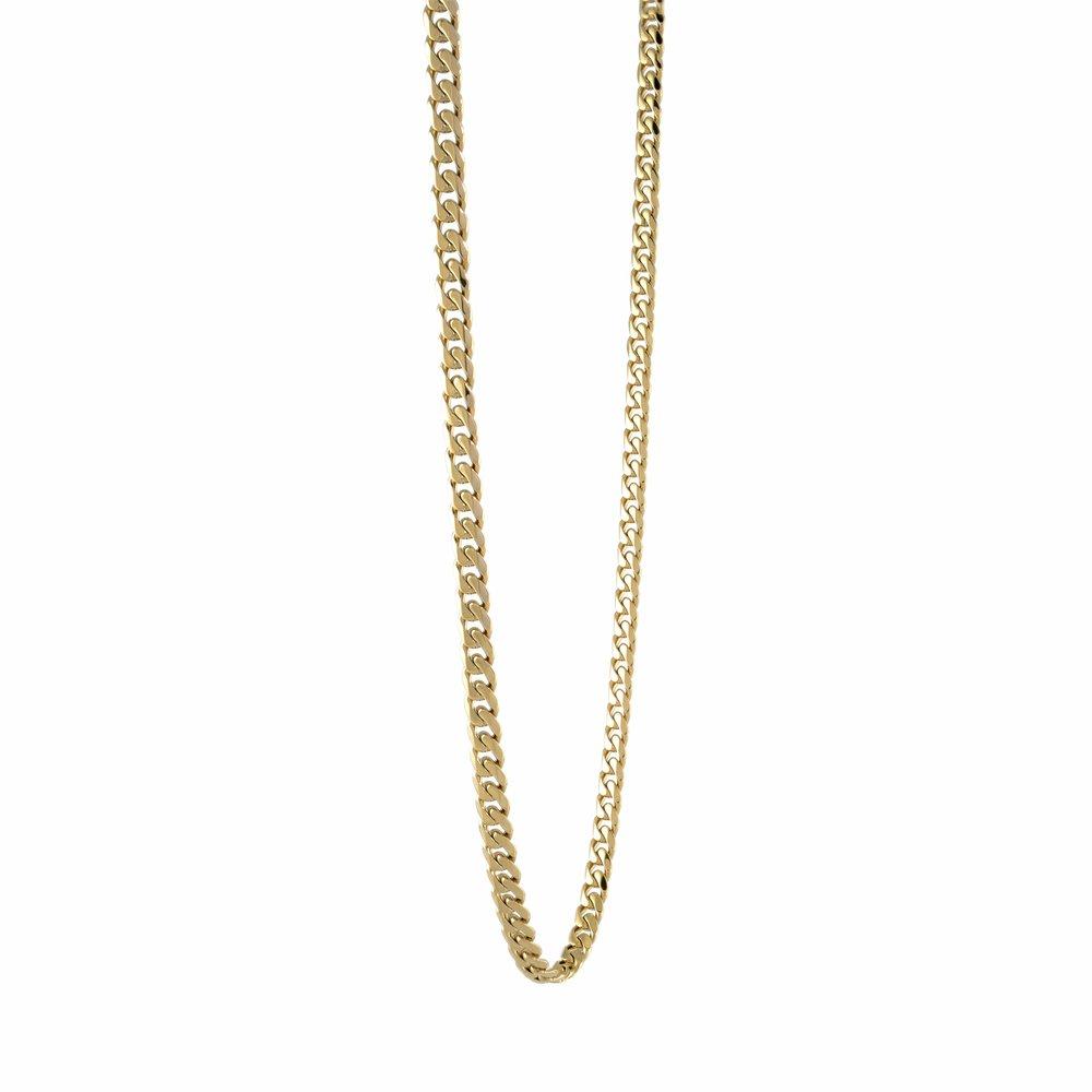 22'' Curb style chain for men - Yellow stainless steel