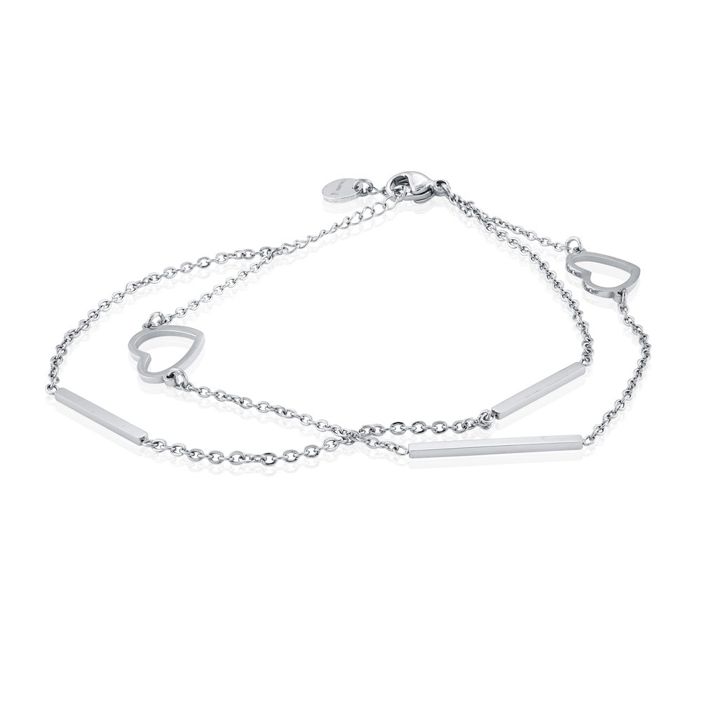 Stainless Steel Double Strand Heart Bracelet