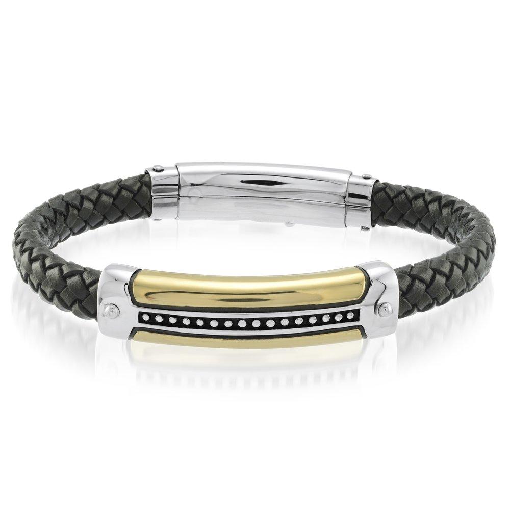 Ion Plated Stainless Steel Black Leather Adjustable Bracelet