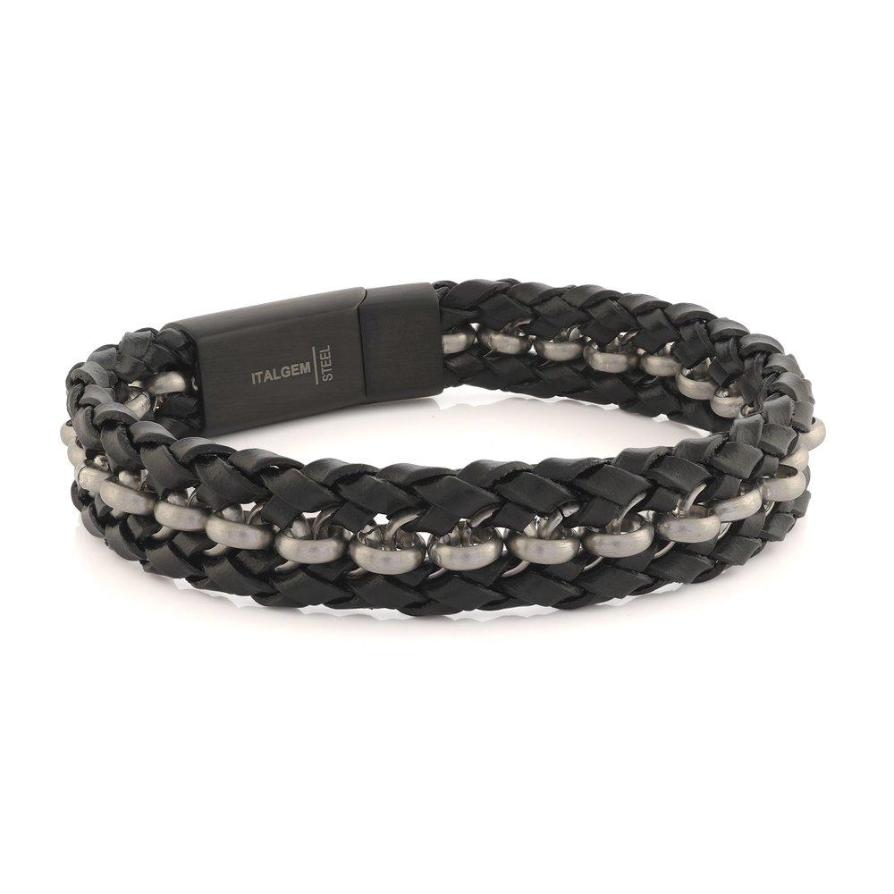 Bracelet pour homme - Acier inoxydable & Cuir noir tressé