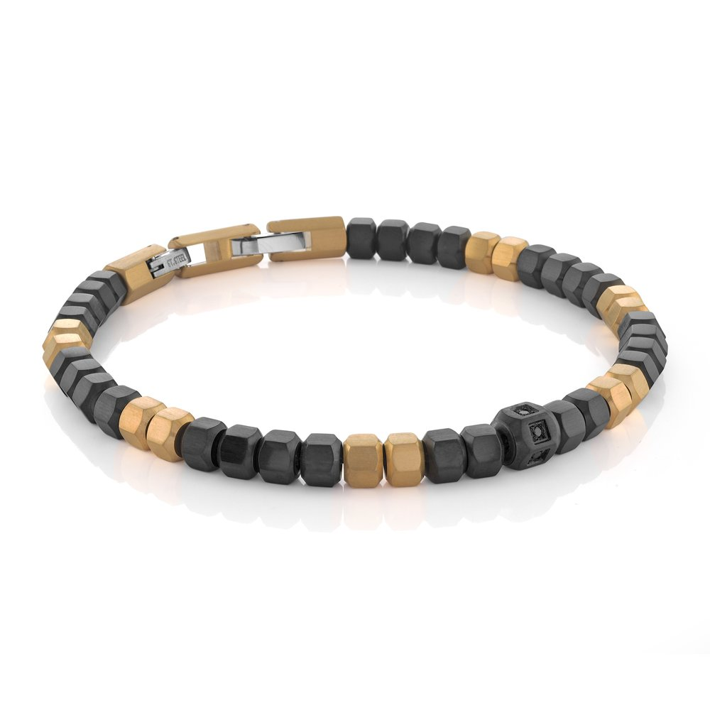 Stainless Steel Black Ion Plated Hexagon Mixed Beads Bracele