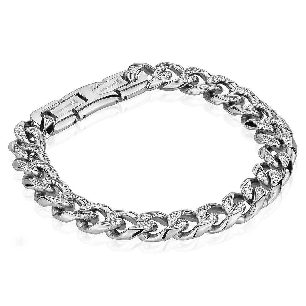 medical bracelet - Stainless steel  & Zircons cubiques + 8.5'' Extension