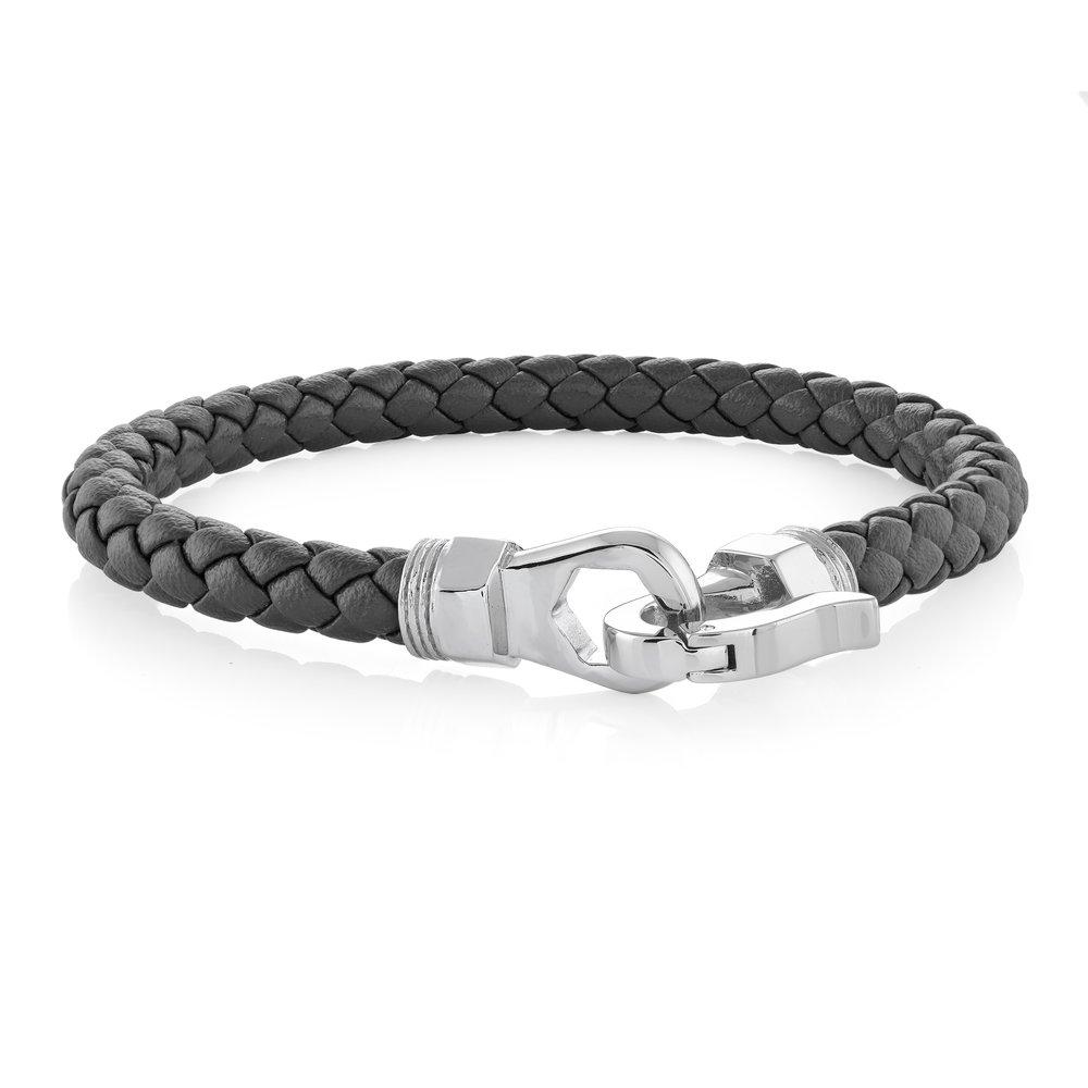 Bracelet for man - Stainless steel & Black braided leather 8.5