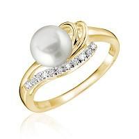 Bague pour femme - Or jaune 10K & Diamants totalisant 0.06 Carat avec perle de culture