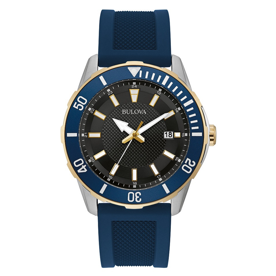 watch for men - Stainless steel 2-tone with bleu dial