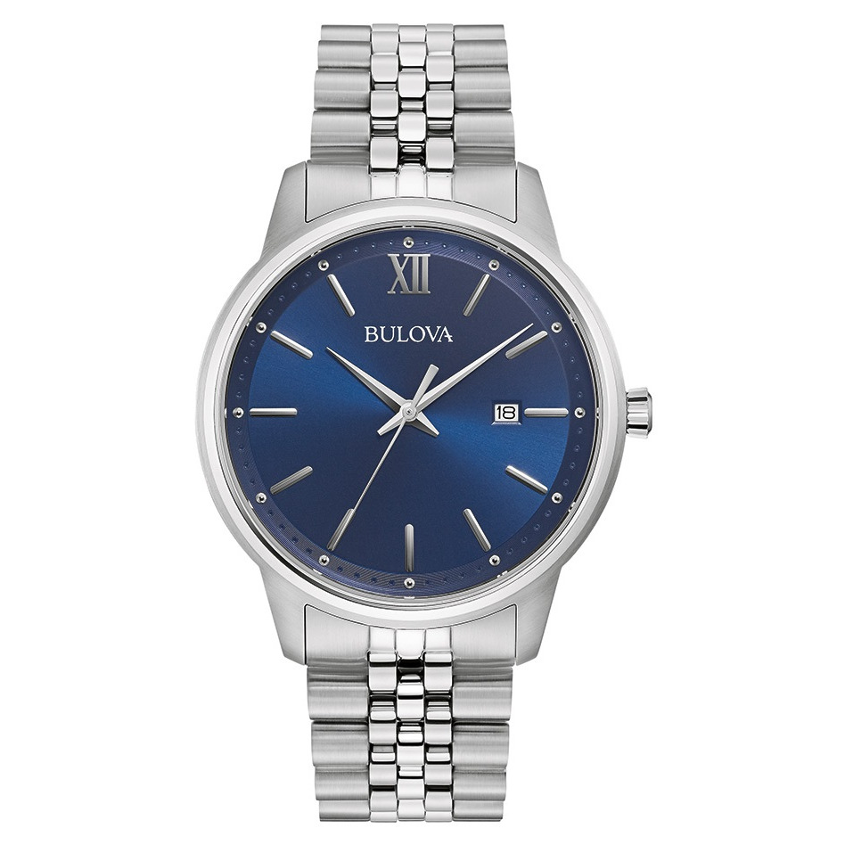watch with quartz movement for men - Stainless steel in bleu dial