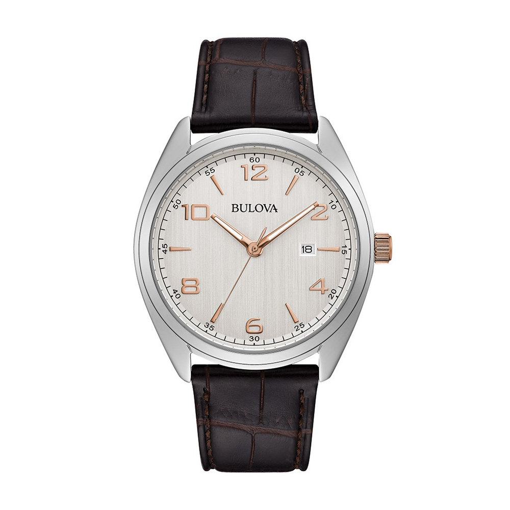 watch with quartz movement for men - Silver-white dial with black leather strap