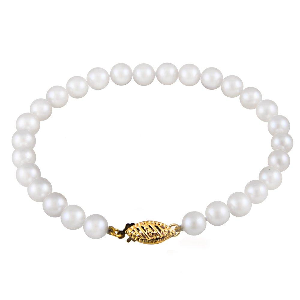 Bracelet de Perles de 6-7mm et 7.25 pouces - fermoir en or 14K