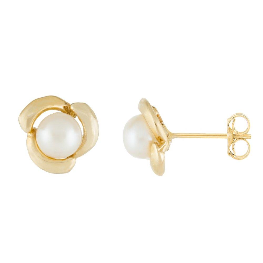 Boucles d'oreilles à tiges fixes en or Jaune 10K avec perles  de 5-5.5mm
