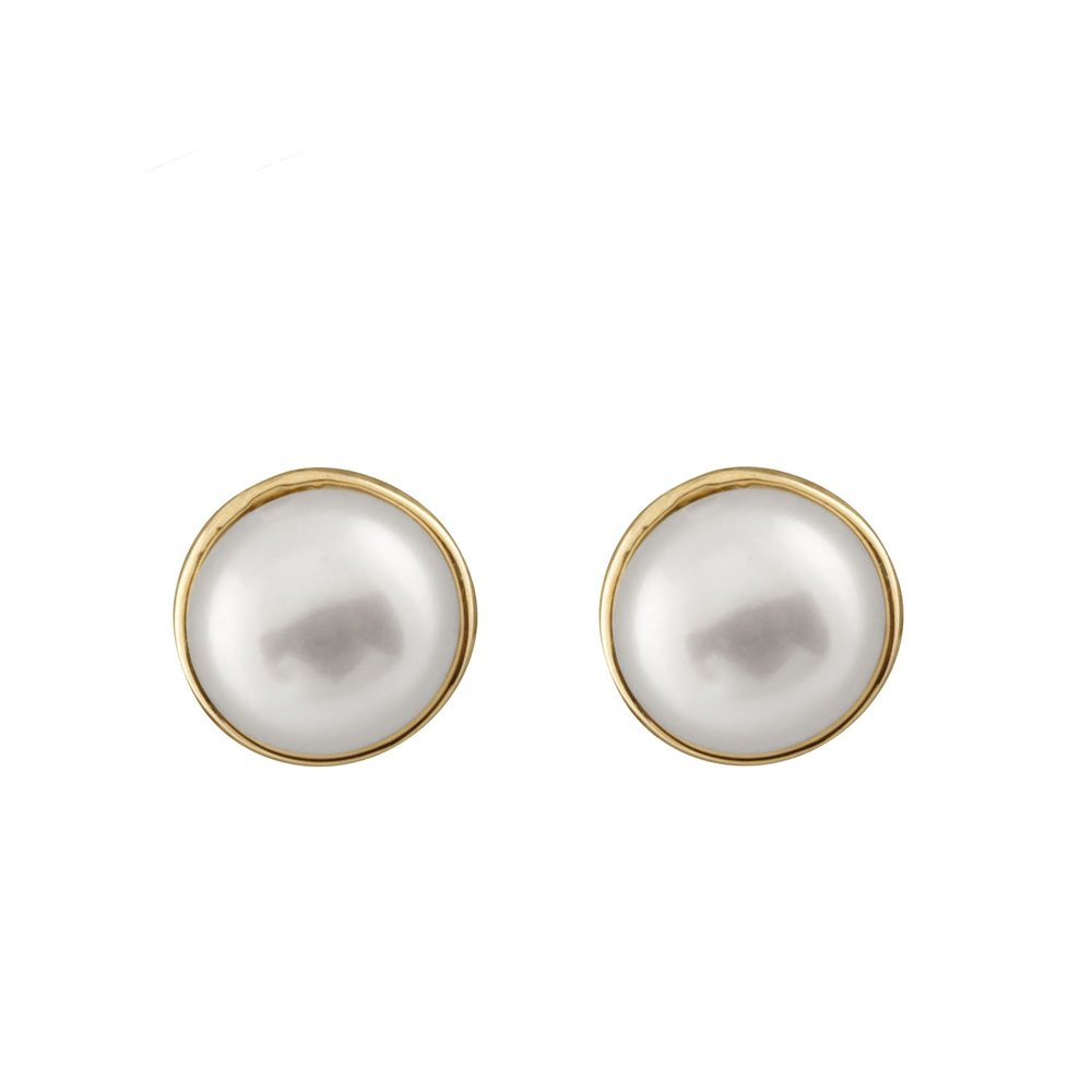 Boucles d'oreilles à tiges fixes en or Jaune 10K avec perles de 5-5.5 mm