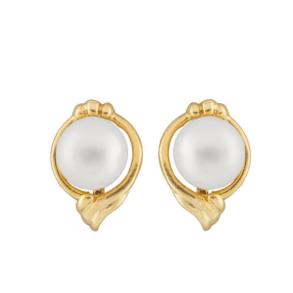 Boucles d'oreilles à tiges fixes en or Jaune 10K avec perles de 6-6.5 mm