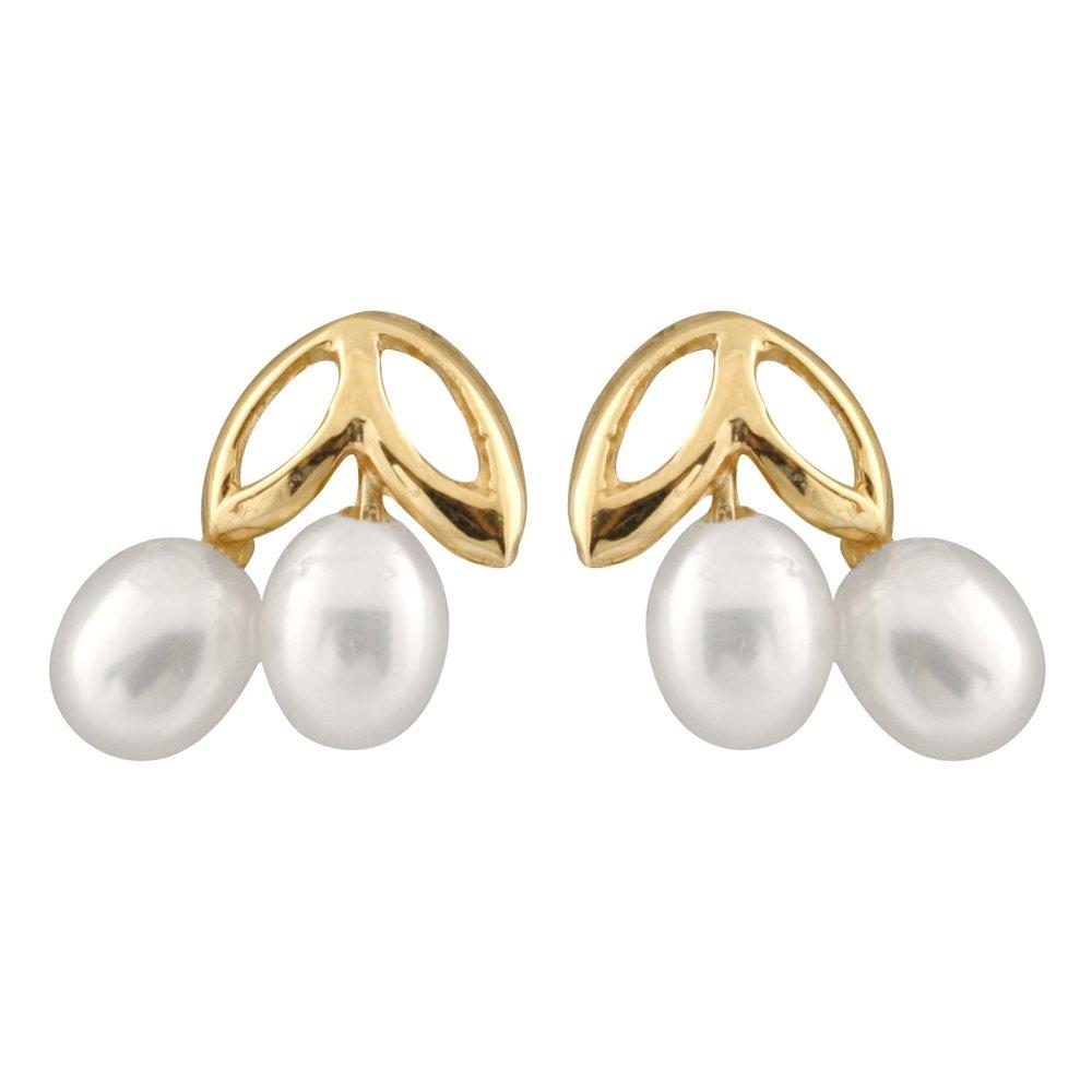 Boucles d'oreilles à tiges fixes en or Jaune 10K avec perles de 3-3.5 mm