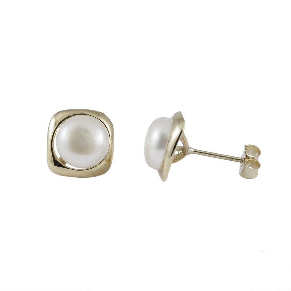 Boucles d'oreilles à tiges fixes en or Jaune 10K avec perles de 7-7.5  mm