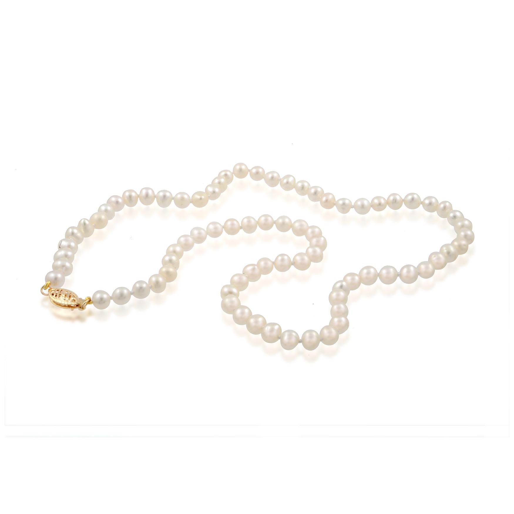 Collier de Perles de 18 pouces  - fermoir en or jaune 14K