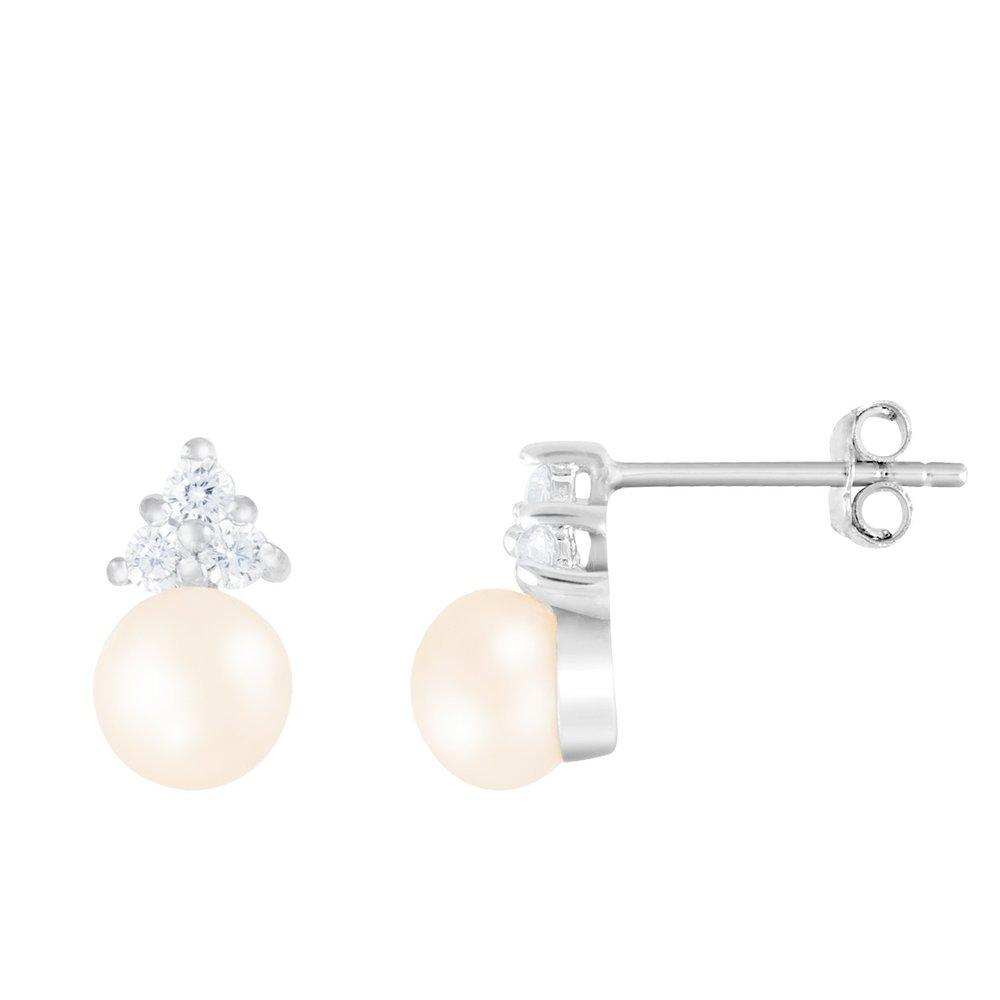 Boucles d'oreilles perles à tiges fixes en argent sterling serties de zircons cubiques