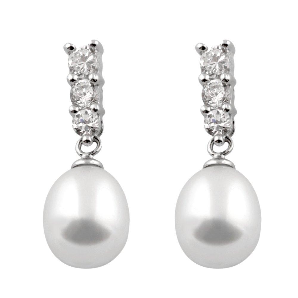 Boucles d'oreilles pendantes - perle 7-8 mm et Argent sterling 0.925 serties de zircons cubiques