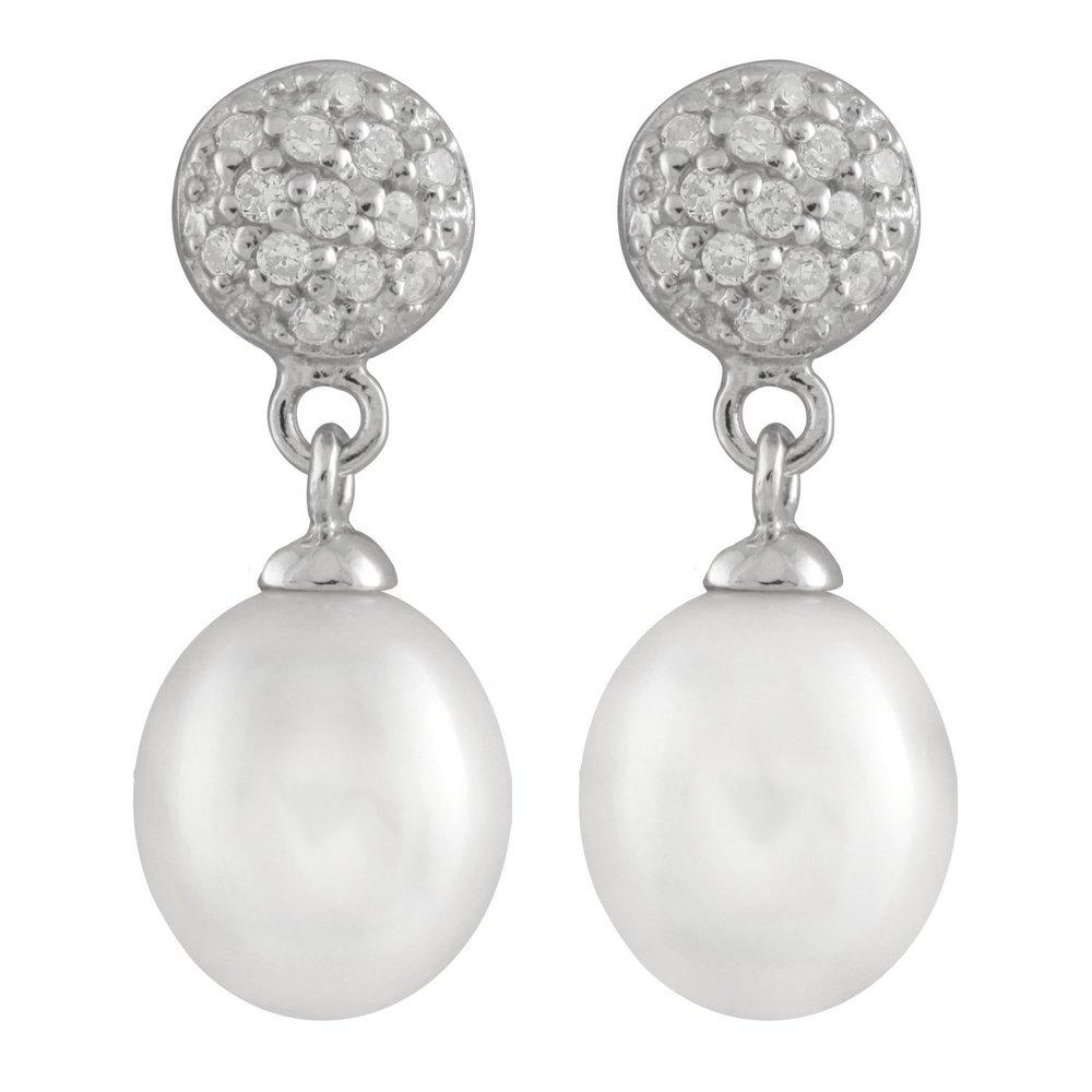 Boucles d'oreilles pendantes - perles 8-9 mm et Argent sterling 0.925 serties de zircons cubiques