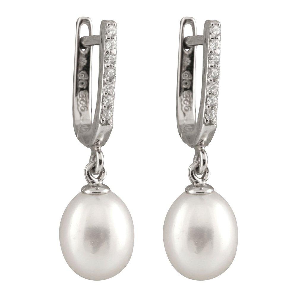 Boucles d'oreilles pendantes - perles 7-8 mm et Argent sterling 0.925 serties de zircons cubiques