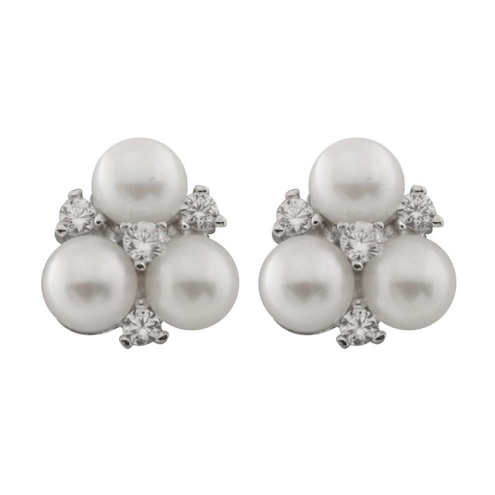 Boucles d'oreilles perles 5-6 mm à tiges fixes en argent sterling serties de zircons cubiques