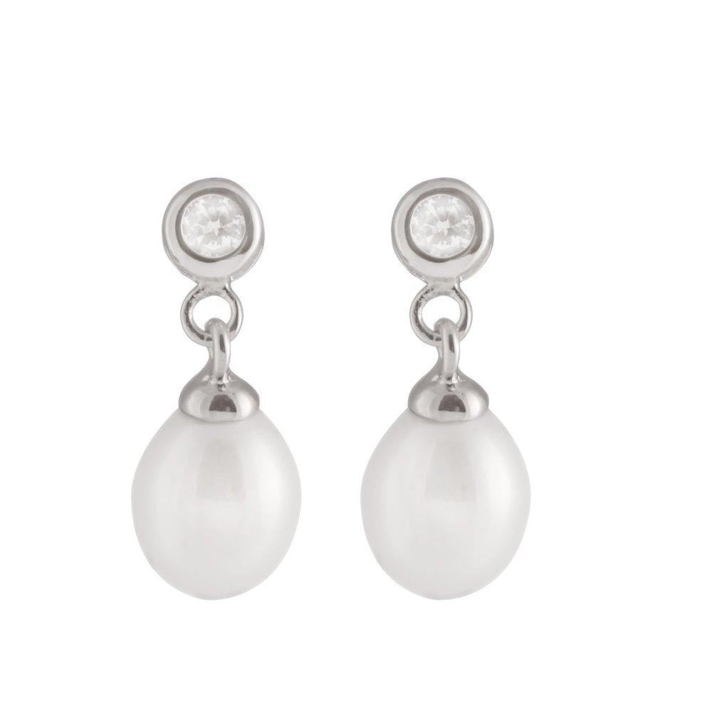 Boucles d'oreilles perles 7-7.5 mm à tiges fixes en argent sterling serties de zircons cubiques