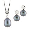 pendant with chain (17 inches) and earrings 7-5 mm black pearl set - Sterling silver with cubic zirconia