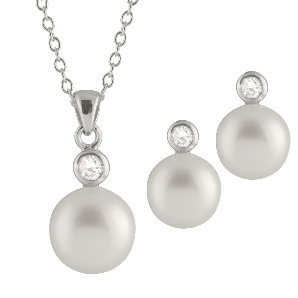 pendant with chain (17 inches) and earrings 8-8.5 mm pearl set - Sterling silver with cubic zirconia
