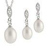 Ensemble pendentif et collier (17 pouces) et boucles d'oreilles perles à Tiges fixes - en argent sterling serties de zircons cubiques
