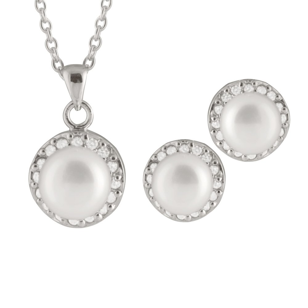 pendant with chain (17 inches) and earrings 7-8mm pearl set - Sterling silver with cubic zirconia