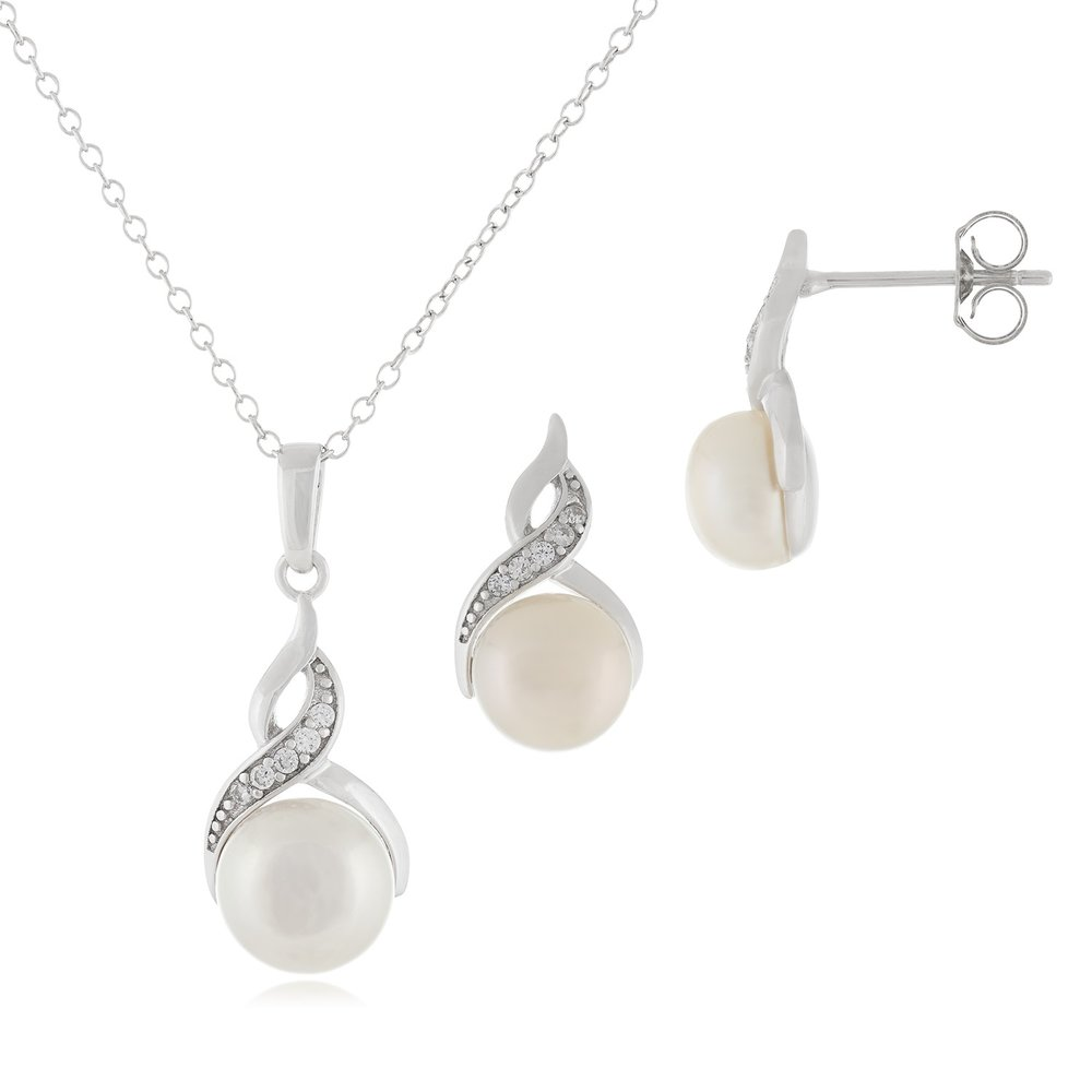 pendant with chain (17 inches) and studs earrings pearl set - Sterling silver with cubic zirconia