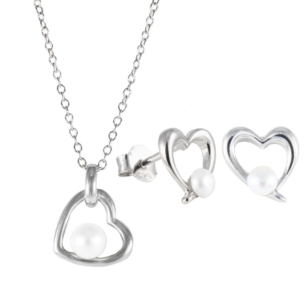 Heart pendant with chain (17 inches) and studs earrings pearl set - Sterling silver with cubic zirconia