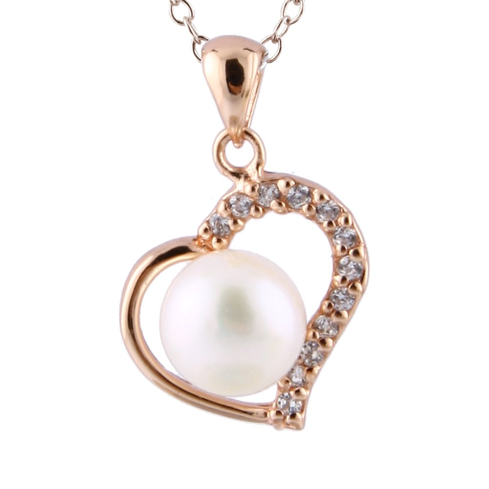 7-7.5mm pearl heart pendant with chain (17 inches) - sterling silver 0.925 with cubic zirconia