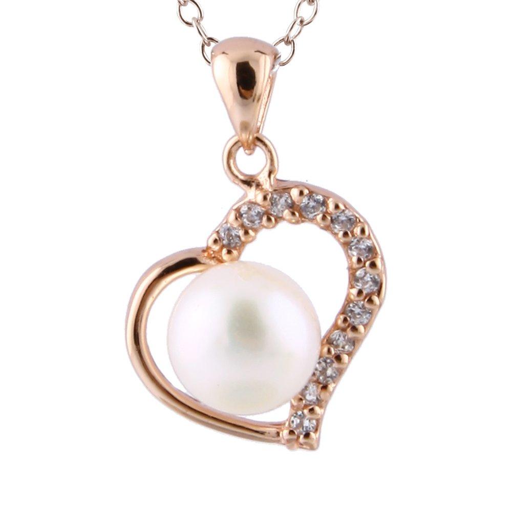 pendentif coeur en perles 7-7.5 mm et collier (17 pouces) en argent sterling serties de zircons cubiques