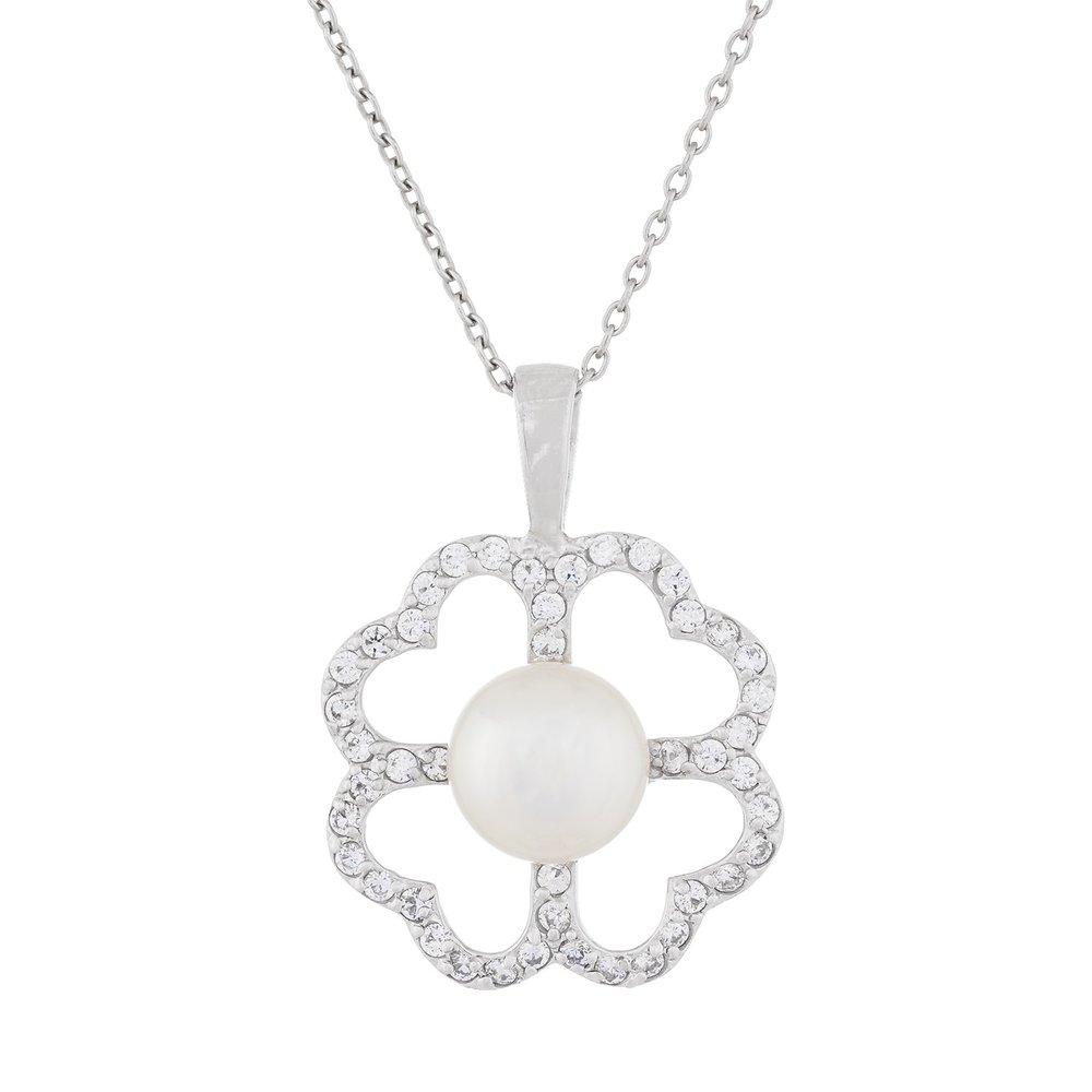 Pendentif Fleur en perles et collier (17 pouces) en argent sterling serties 0.952 de zircons cubiques