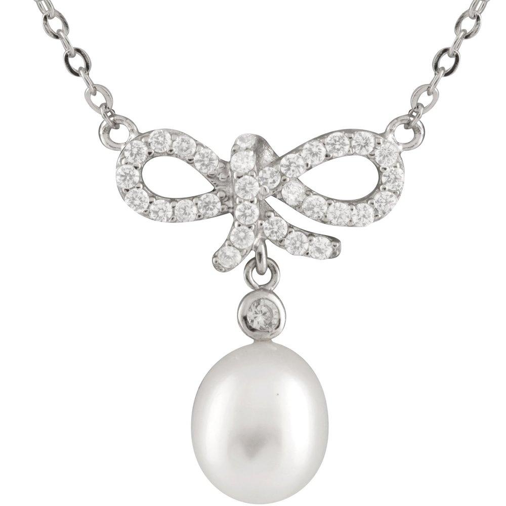 Pendentif perles avec chaîne (17 pouces) - Argent sterling 0.925 avec zircone cubique