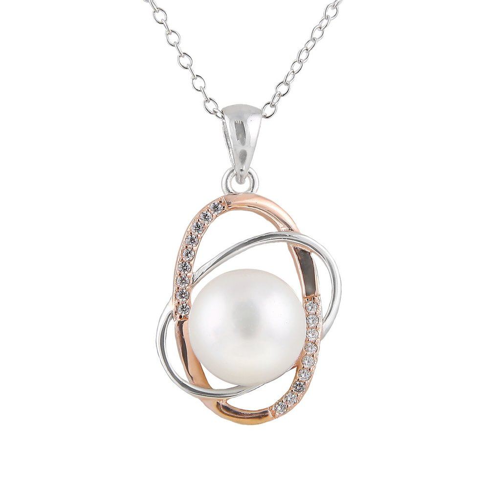 Pearls pendant with chain (17 inches) - Sterling silver 0.925 -2 tone with cubic zirconia