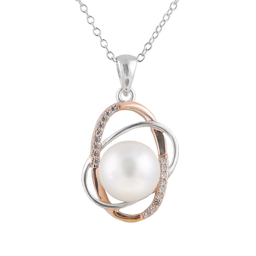 Pendentif perles avec chaîne (17 pouces) - 2 tons Argent sterling 0.925 avec zircone cubique
