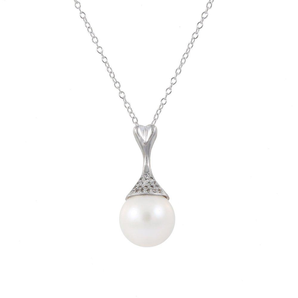 Pendentif perles avec chaîne (17 pouces) - Argent sterling 0.925